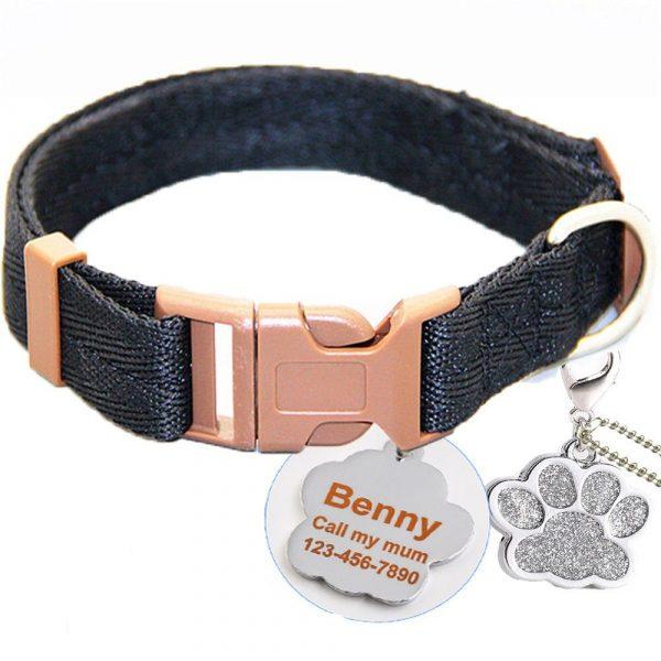 Collier noir pour chien + inscription médaille